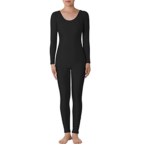 Muka Scoop Neck Long Sleeve Unitard Lycra Zentai Bodysuit Catsuit Dancewear-Black-XXL