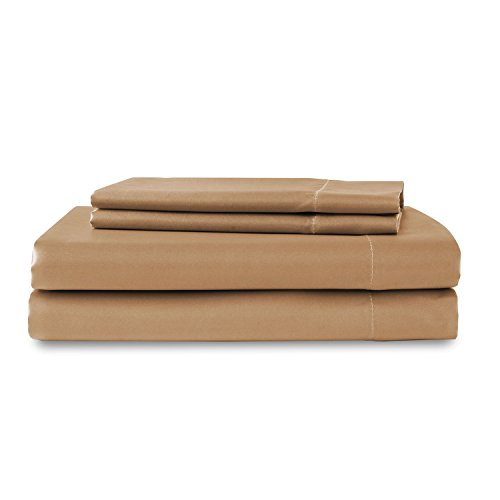 Print Dreams Sweet (Sweet Dreams Silky Satin Flat Sheet - Twin XL, Camel, Wrinkle Free and Stain Resistant Super Soft Luxury Satin Bed Sheets)
