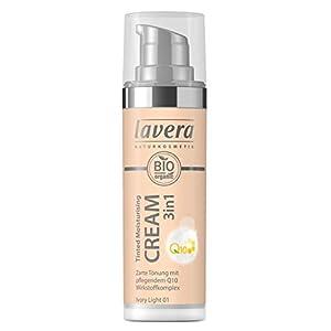 lavera 3en1 Tinted Moisturising Cream Q10 -Ivory Light 01- Crème hydratante teintée ∙ Vegan Cosmétiques naturels Make up Ingrédients végétaux bio 100% Naturel Maquillage (30 ml)