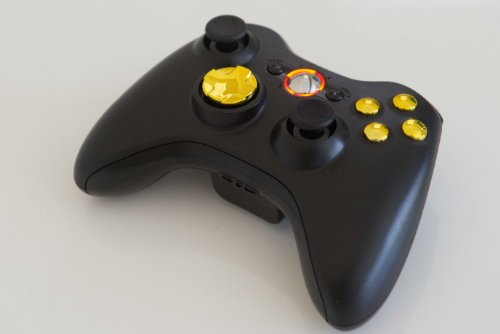 (Gold Buttons 17 Modes Drop Shot, Quick Scope, Auto Aim, Dual Rapid Fire, Reprogrammable Xbox 360 Modded Rapid Fire Controller for COD Ghost Mw3 Black Ops Mw 2 with Gold D-pad and Orange Led)