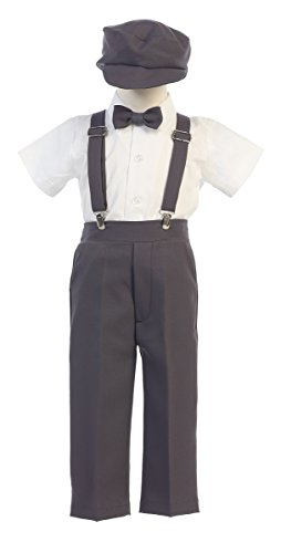 Lito G825/G829 Boys Special Occasion Black/Charcoal/Khaki Suspender Pants with Hat (Long/Short Sleeve) (Charcoal, 4T) -