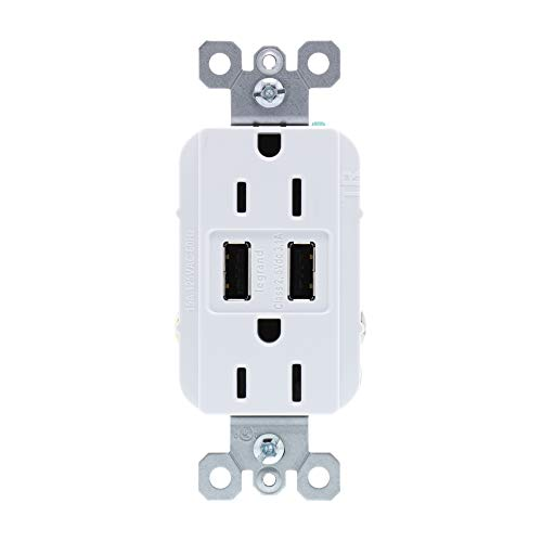 Legrand - Pass & Seymour radiant TM826USBWCCV6 USB Charger Outlets with Duplex Tamper-Resistant 15A Wall Power Outlets for Charging Smartphones & Tablets, White