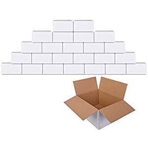 GIOOU Shipping Boxes 8x6x4 inches Cardboard Packaging Box White 25 Pcs