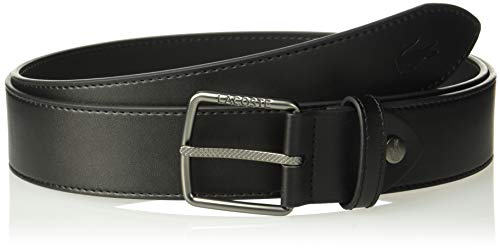 Classic Logo Belt Buckle - Lacoste Men's Classic Logo Embossed Buckle Belt, Black, 41 in