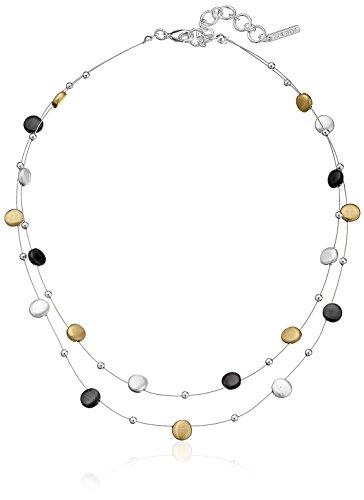 Nine West Classics Tri-Tone Double Row Adjustable Illusion Necklace, 16 + 2 extender