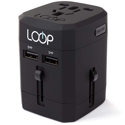 LOOP World Adapter Plug, Worldwide Travel Adapter Charger [US UK EU AU/CN] w/Dual USB Charging Ports & Universal AC Socket - Safety Fused (Black)