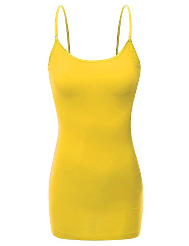 RT1002 Ladies Adjustable Spaghetti Strap Basic Long Cami Tank Top Yellow L