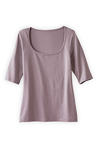 Fair Indigo Fair Trade Organic Elbow Sleeve Scoop Neck Tee (XS, Lilac Grey)