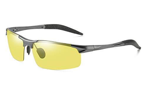 FEISEDY Photochromic Sunglasses Grey Yellow Photosensitive All Day Night Driving B2464 (Gunmetal, ()