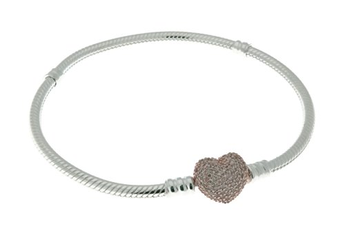PANDORA Bracelet in Sterling Silver with Heart-Shaped PANDORA Rose Clasp with Clear Cubic Zirconia - 586292CZ-20 (David Yurman Gemstone Bracelet)