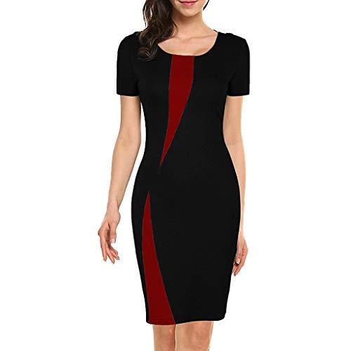 ✔ Hypothesis_X ☎ Women's Vintage Slim Style Sleeveless Business Pencil Dress Stitching Stretch Slim Dress Black -