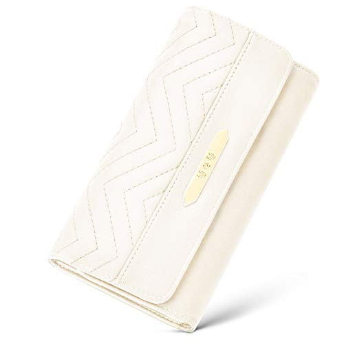 Soft PU Leather Wallet for Woman, U+U Tri-fold Phone Clutch Purse, Large Capacity with 12 Card Slots, White