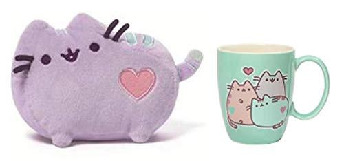 Gund Pusheen The Cat Pastel Stoneware Mug and Purple Heart Plush Bundle (2 items)