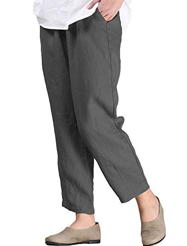 Cropped Pants Crepe Petite - LaovanIn Women's Linen Cropped Pants Tapered Ankle Capris Trousers Elastic Waist Medium Gray