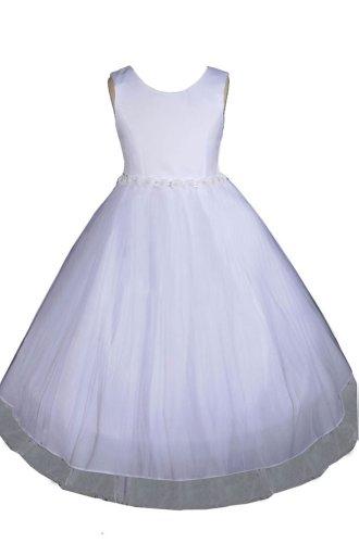 AMJ Dresses Inc Big Girls' White Flower Girl Dress A0023 Sz 10