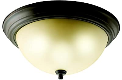 Kichler 8110OZ, Ceiling Glass Flush Mount Ceiling Lighting, 3 Light, 180 Watts, Olde Bronze