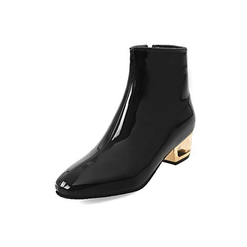 (ChyJoey Women's Patent Leather Ankle Boots Metal Low Heel Square Toe Zipper Fashion Fall Short)