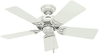 Hunter Fan 42 inch Traditional White Ceiling Fan with Three-Light Fitter and Clear Frosted Glass, 5 Blade Renewed