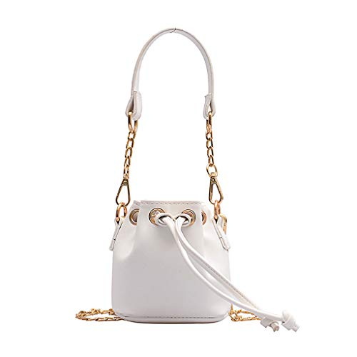 Fashion Women Pure Color Leather Chain Crossbody Bags Bunch of Pocket Shoulder Bags, JKRED Fashion Causal Zipper Outdoor Personality Party Solid Color Portable Wild Travel Multifunction (White) ()