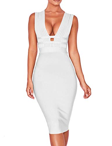 Whoinshop Women 'S Sexy Deep V Plunge Sleeveless Cut Out Bodycon Bandage Cocktial Party Dresses (M, White)