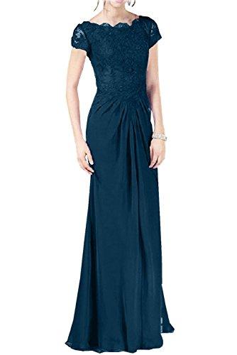 Braut Brautmutterkleider Abendkleider Kurzarm Navy mit La mia Kleider Langes Blau Chiffon Jugendweihe Partykleider 5IAq86