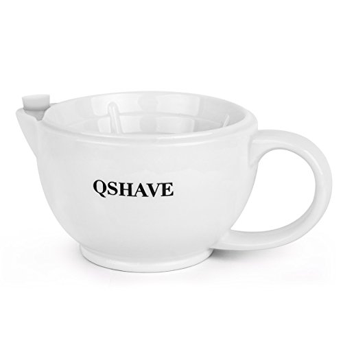 QSHAVE Shaving Scuttle Mug - Keep Lather Always Warm - White Large Deep Size Bowl Handmade Pottery Cup (White)