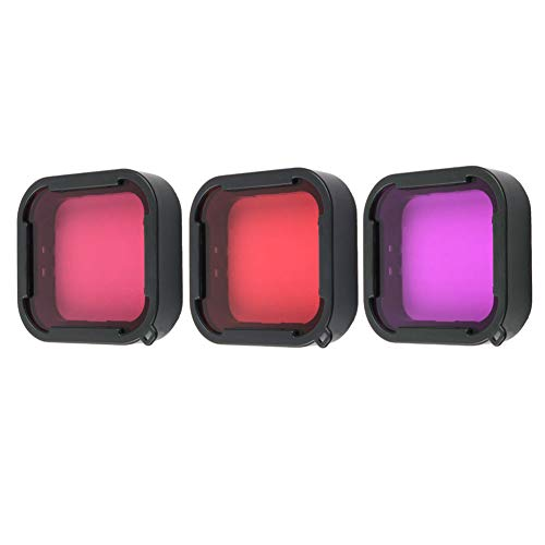 Alsukeay 3 Pack Scuba Dive Filter Kit for GoPro Hero 5 6 7 Black Super Suit Dive Housing - Red, Light Red and Magenta Filter - Enhances Colors for Various Underwater Video and Photography Conditions