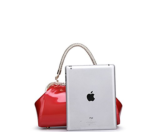 Work Tavel Party Lady Wallets Purse Small Rosered H Place Evening Leather Clutch Patent Bag Woman wFxaqtU
