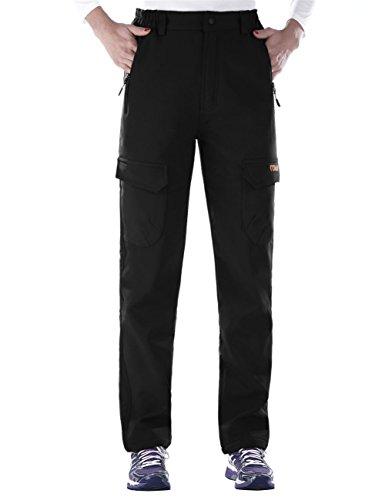 Nonwe Ladies' Warm Water-Resistant Workouts Fleece Climbing Sweat Pants Black1 L/30.5