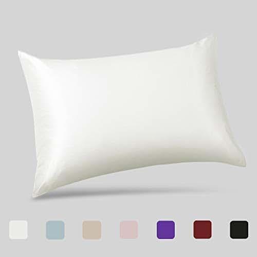 ALASKA BEAR - Natural Silk Pillowcase, Hypoallergenic, 19 Momme, 600 Thread Count 100 Percent Mulberry Silk, Standard Size with Hidden Zipper (1, Ivory(Natural Undyed White))