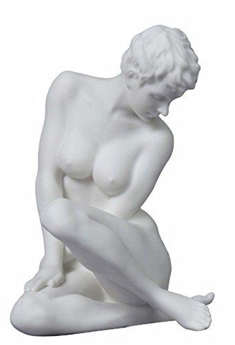5.13 Inch Matte Finish Nude Female Statue Figurine Sitting, White