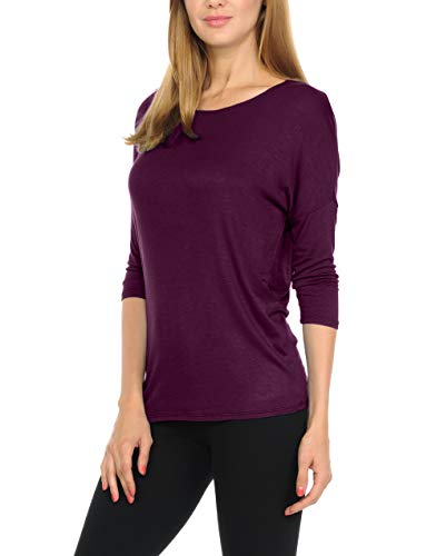 (bluensquare Women T-Shirts Soft Rayon Jersey Top - 3/4 Dolman Sleeves, 5 Sizes(S-XXL) (X-Large,Eggplant))