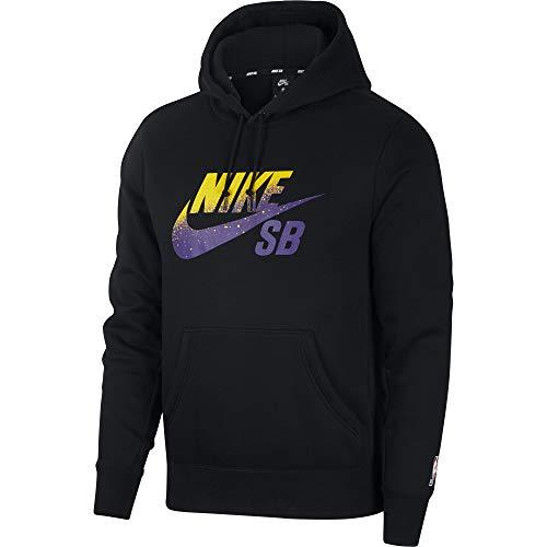 (Nike SB Icon x NBA Men's Hooded Sweatshirt - BV6750 (Black/Field Purple, X-Large))