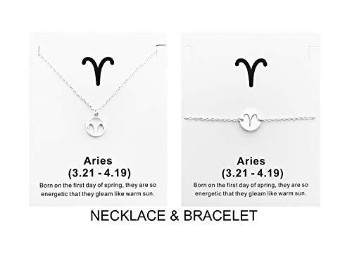 Your Always Charm Zodiac Necklace and Bracelet 12 Constellation Silver Zodiac Jewelry Set Birthday Gifts for Women (Aries)