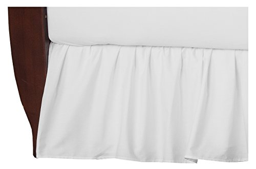 TL Care 100% Natural Cotton Percale Crib Bed Skirt, White, Soft Breathable, for Boys and - Crib Care