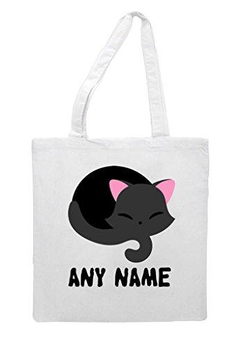 Halloween Shopper White Personalised Any Black Sleeping Custom Cat Name Tote Bag wY4nT