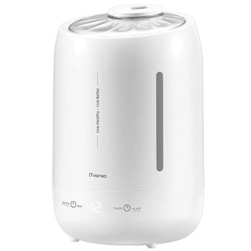 iTvanila Cool Mist Humidifier, 5L Air Humidifiers for Bedroom Large Room Babies Room Ultrasonic Humidifier Whisper Quiet Timer Auto Shut-Off