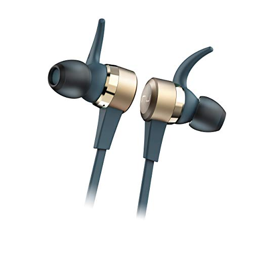 NuForce BE Live5 Wireless Audiophile Earphones with 8h Battery Life, AAC + aptX, Large 8mm Driver for deep Bass, New Innovative Battery Design and Aluminum housing (Gold)