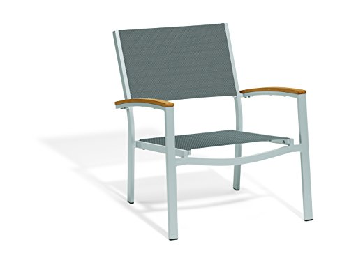 Oxford Garden Travira TVCAST1094 Chat Chair - Titanium Sling Seat - Teak Armcaps - Set of 4 (Titanium Oxfords)