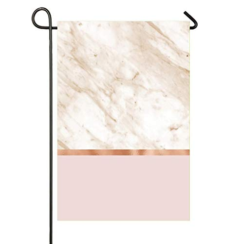 HOOSUNFlagrbfa Caramel Marble On Rose Gold Blush Garden Flag 12 x 18 Double Sided, Yard Outdoor House Flags Banner Party Home Decor