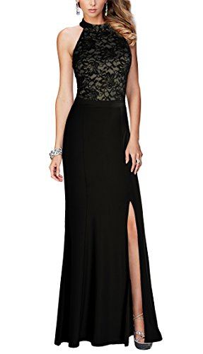 REPHYLLIS Women's Halter Floral Lace Vintage Wedding Maxi Long Dress(XL,Black)