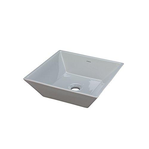 RONBOW Square Ceramic Vessel Bathroom Vanity Sink in Cool Gray 200005-CG ()