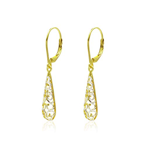 Two Tone Sterling Silver Diamond-Cut Filigree Puffed Teardrop Leverback Dangle Drop Earrings