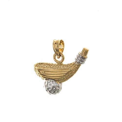 14k Two-Tone Gold Sports Charm Pendant, Golf Club with White Ball (Gold Charm Pendant 14k Sports)