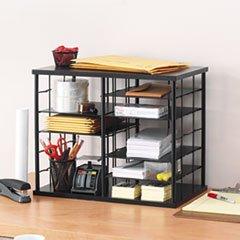 * 12-Slot Organizer, MDF, Desktop Sorter, 21 x 11 3/4 x 16, Black