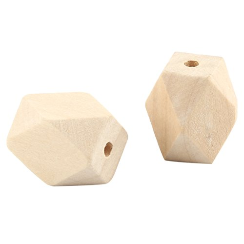 30Pcs Natural Geometric Figure Wooden Beads Faceted Cube 27mm x 20mm for Jewelry Necklace Bracelet DIY Making