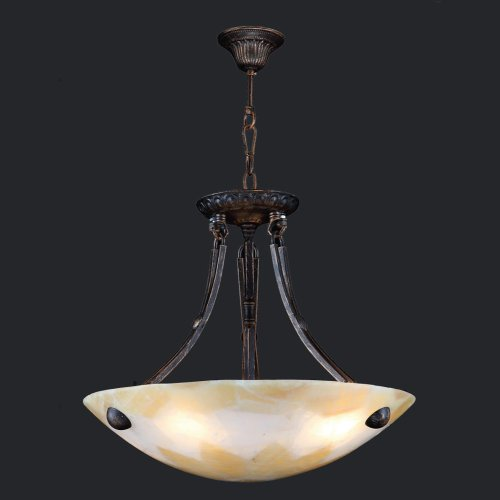 Stone Bowl Pendant (Worldwide Lighting W83806F16 Pompeii 4 Light Flemish Brass Finish Natural Quartz Bowl Pendant)
