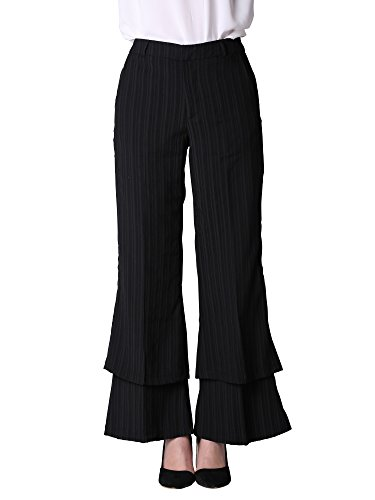 Vero Viva Women's Wide Leg Flared Wear To Work Pants Black Striped Palazzo Casual Pants (Striped Pants Slacks)