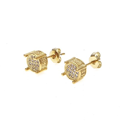Leoy88 New Men Rhinestone Crystal Brooch Earrings Square Earrings Micro-Inlaid Zircon Women Hip Hop Fashion Jewelry (Gold) ()