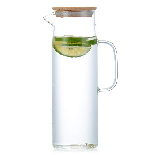 Glass Water Kettle Carafes Glasses Water Container storage 1500mh Glass Water Pitcher With Bamboo Lids from HJN